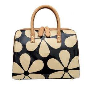 Orla Kiely Snowdrop Printed Patent Leather Peggy Bag in Marble