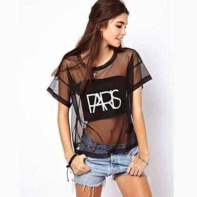 Women's Punk Style ound Neck Short Sleeves T-shirt Black - USD $ 9.09
