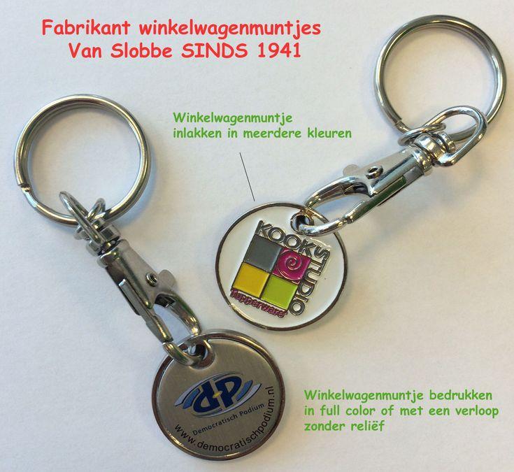 #Winkelwagenmuntje #Sleutelhanger. Logo instanzen of met doming http://www.vanslobbe.nl/nl/sleutelhangers-premiums/sleutelhangers-bedrukken/winkelwagenmuntje-sleutelhangers