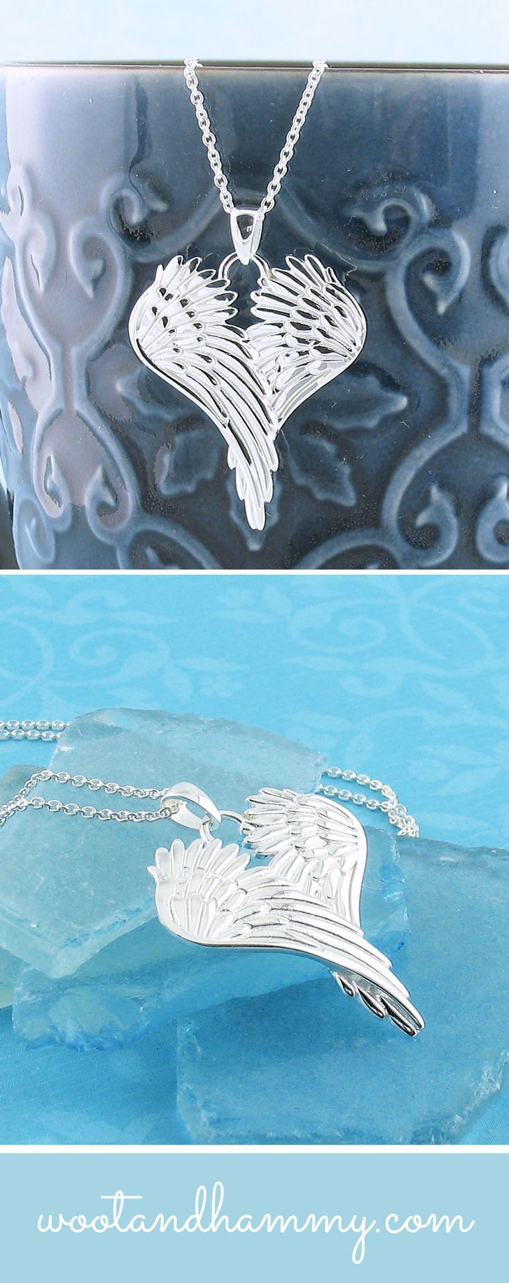Peacefully folded over one another, these angel wings are embellished with a feather texture that adds light and movement to this special piece. A polished, pure silver plating gives it a bright, luminous look.