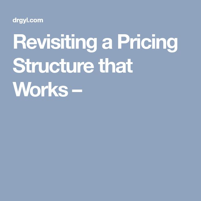 Revisiting a Pricing Structure that Works –
