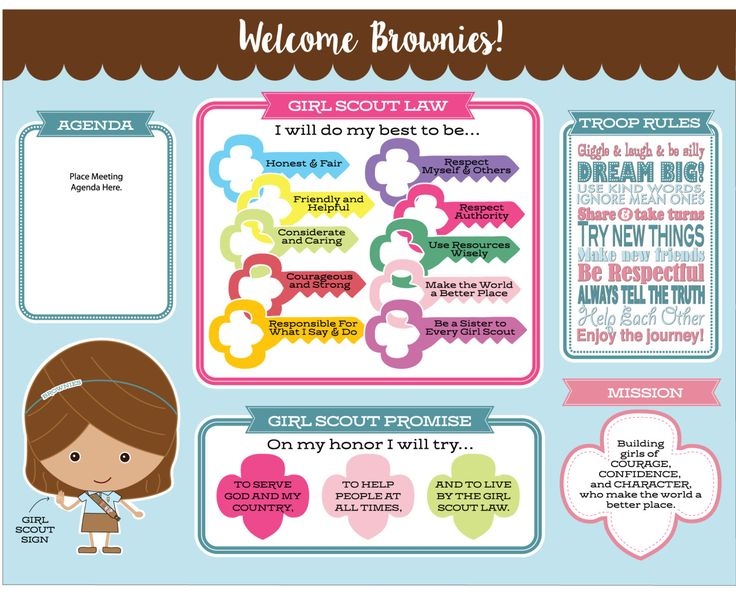 INSTANT DOWNLOAD - Decorate your Girl Scout meeting space with this festive Meeting Board that gets your Brownies excited about learning! The Information Board displays the following: -Girl Scout Law -Girl Scout Promise -Girl Scout Mission -Troop Rules -Meeting Agenda Area (print and adhere to board before each meeting!)  Files type: .PDF File Size: 22in x 28in (standard poster board size)  INSTRUCTIONS: 1. Print Meeting Board File a at local office supply store or printer of choice.  (File…