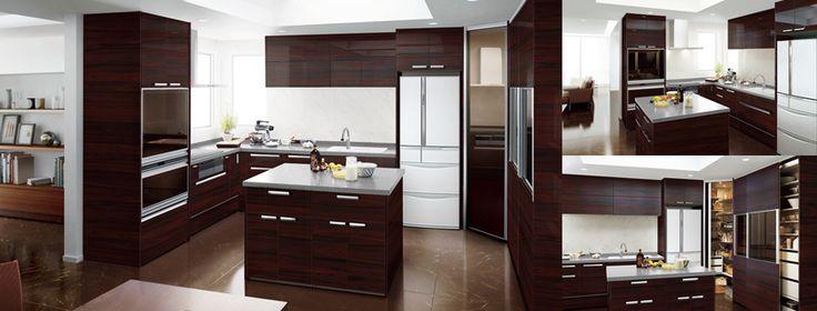 オープンキッチン 壁付L型 奥行65cm 間口270×180cm+センターキッチン・収納タイプ アイランド型 間口127cm
