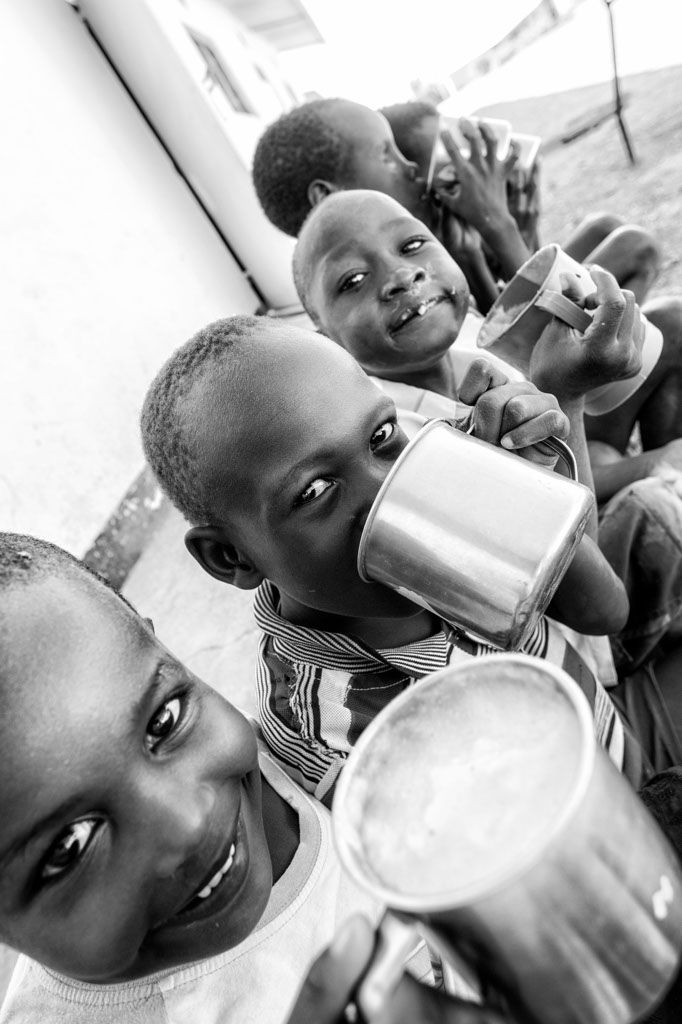 Sweet, hot corn mush creates a big smile on every African child.