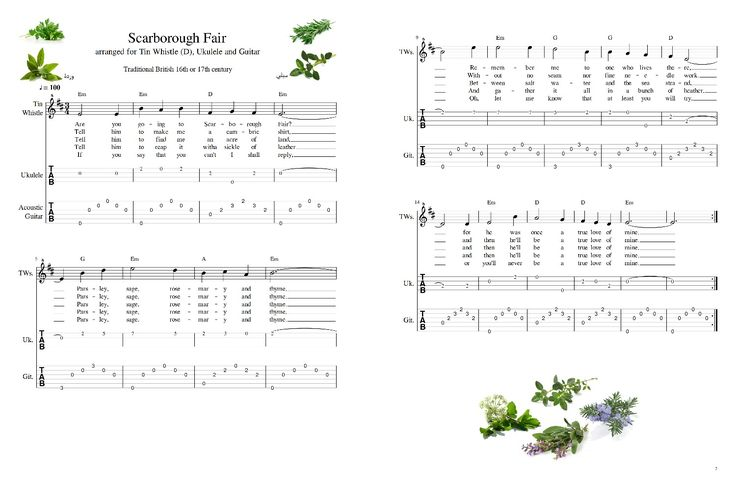 Scarborough Fair Traditional sheet music and tab for Tin whistle, Ukulele and Guitar