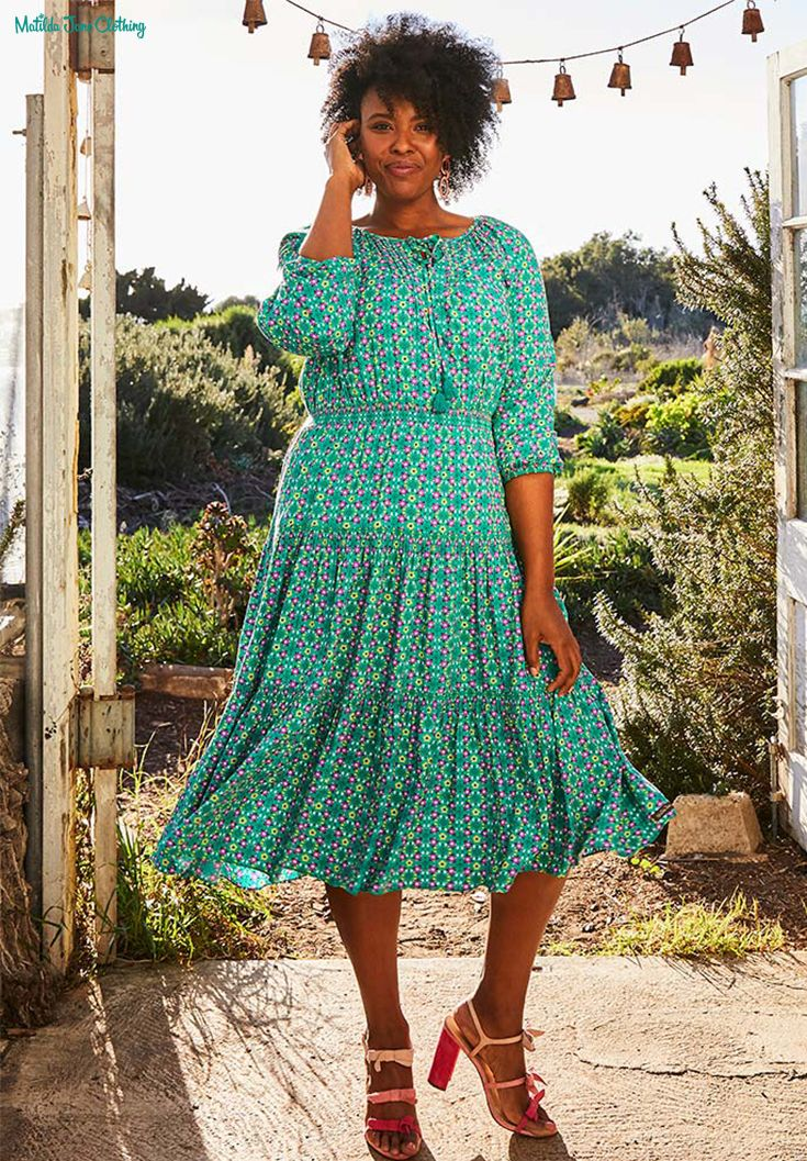 38eee26be8 Perfect for casual spring and summer get togethers, this dress is so pretty  with its pin tucking, fringe, and smocking at every tier.