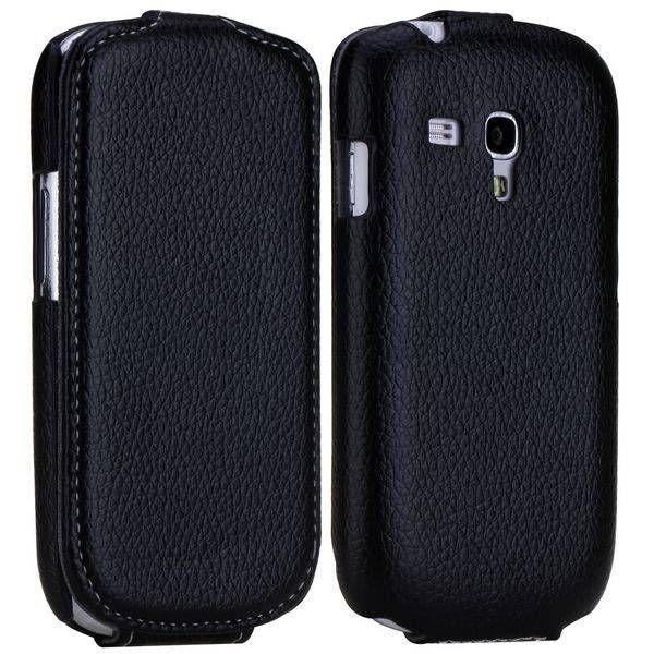 Zwarte lichee flipcase Samsung Galaxy S3 mini