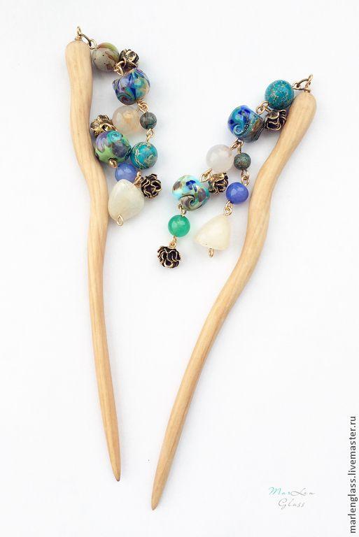 Канзаши - Гейша - палочки для волос, авторское стекло и дерево ручной работы, самоцветы. Artisan lampwork hair sticks, KANZASHI, handmade glass and wood, MarLen Glass