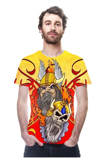 Viking Warrior Tattoo all over print tshirt - a colorful design showing some of our tattoo art: a grim looking viking warrior and a warrior skull, surrounded by flames and ornamental swirls.