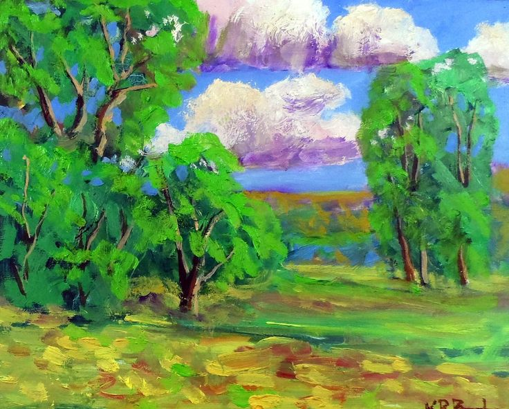 """Small  colorful art original oil landscape painting 8x10""""water  by Ken Burnside #Impressionism"""