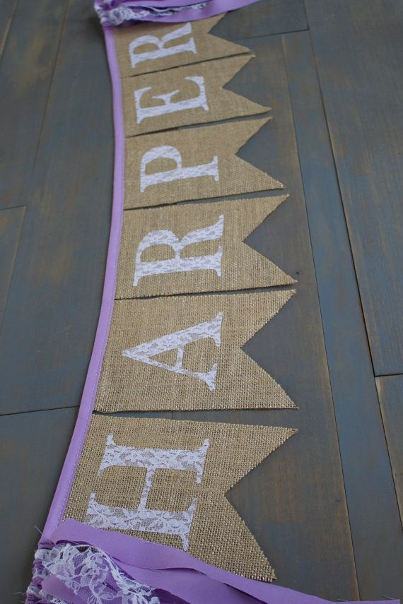 Purple Lavender Lace Girl Name Custom Burlap Banner for Nursery, First Birthday Party Decoration or Photo Prop by MsRogersNeighborhood Etsy shop