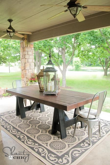 Sawhorse Outdoor Table - this is the kind of top we want on our kitchen table. Don't love the legs but could easily be done a different way.