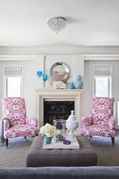 Living Room by Emily Ruddo traditional living room with pink Ikat fabric chairs
