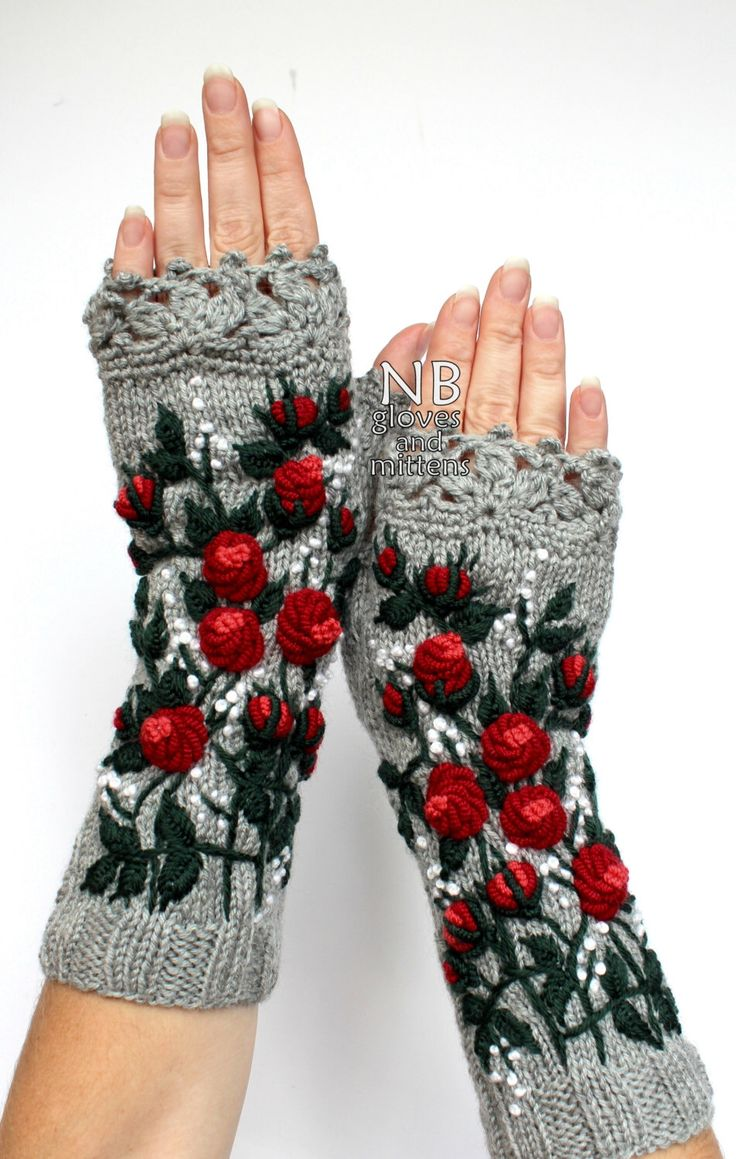 Knitted Fingerless Gloves, Roses, Grey, Red, White Small Dots, Long, Clothing And Accessories,Gloves & Mittens,Gift Ideas, by nbGlovesAndMittens on Etsy https://www.etsy.com/listing/488529131/knitted-fingerless-gloves-roses-grey-red