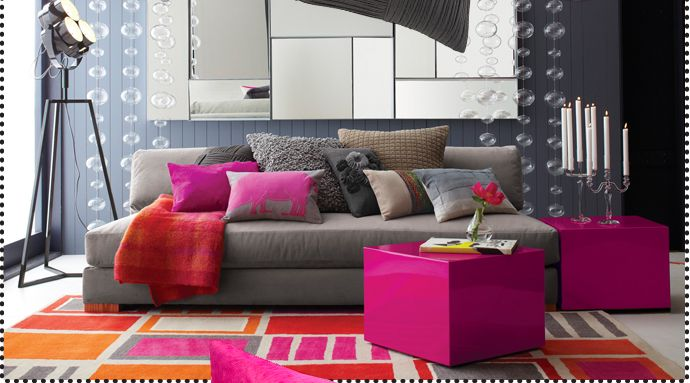 pink orange grey: Colors Combos, Idea, Living Rooms, Hot Pink, Floors Lamps, Studios Couch, Velvet Sofas,  Day Beds, Bright Colors