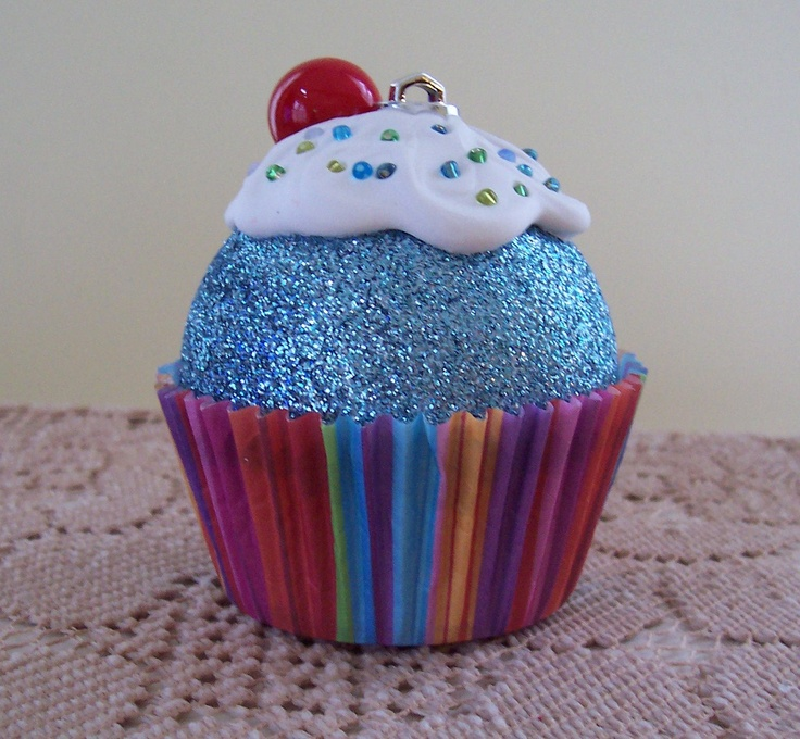 Christmas Ornament / Cupcake Ornament  Glitter ball, glue on cupcake liner..Frost with all sorts of craft things...glitter or bead confetti....