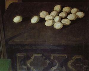 Felice Casorati, 1883 - 1963. Le uova sul cassettone. 1920.
