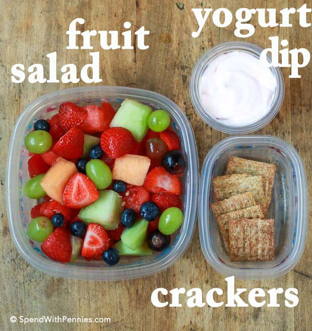 Here are our favorite kid approved, no-sandwich, no heating required, lunchbox ideas! Fruit salad with greek yogurt dip and crackers.