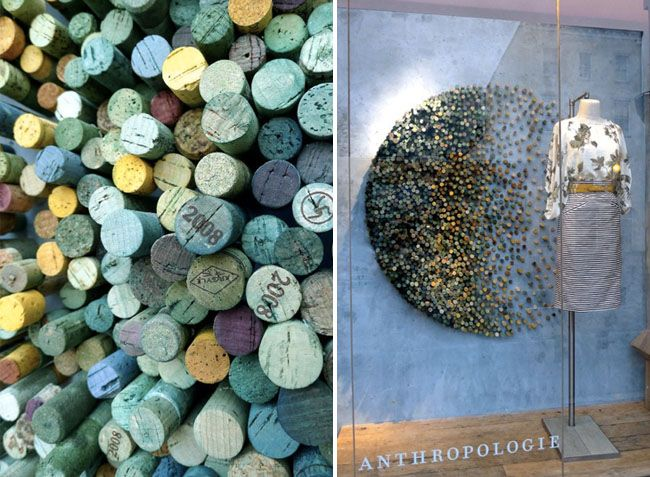 Corks as part of a creative backdrop – and by dying and/or painting them it really creates beautiful patterns!