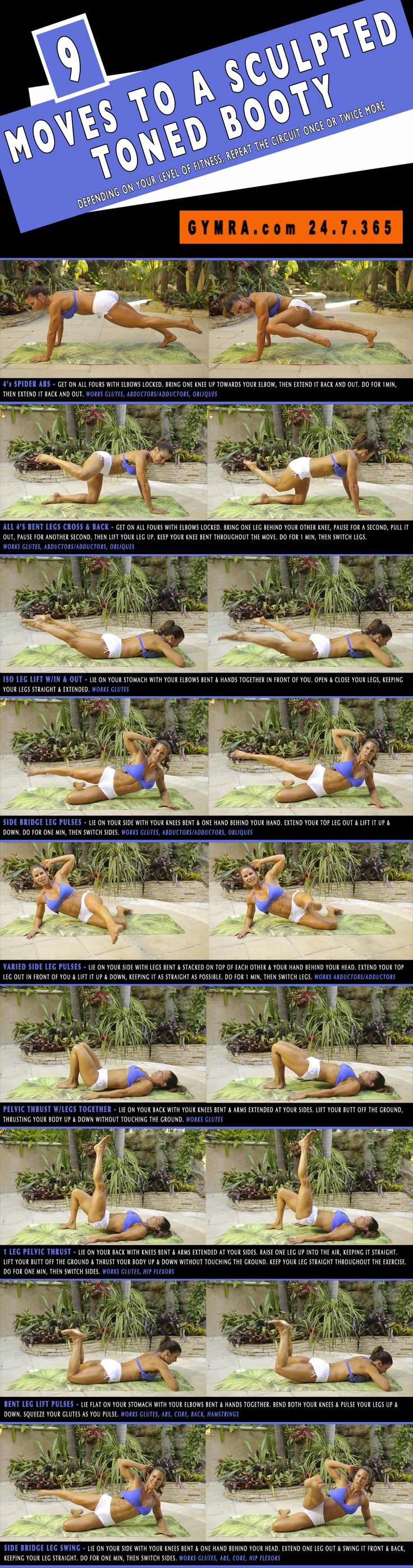 9 moves for a toned booty. Butt workout that is also great for your abs. Click to see animated GIFs.