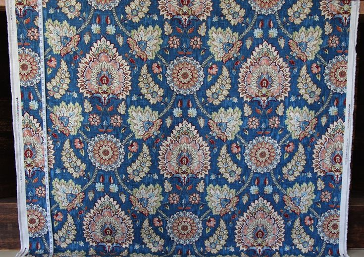 Blue Persian rug fabric Craftsman linen from Brick House Fabric: Novelty Fabric