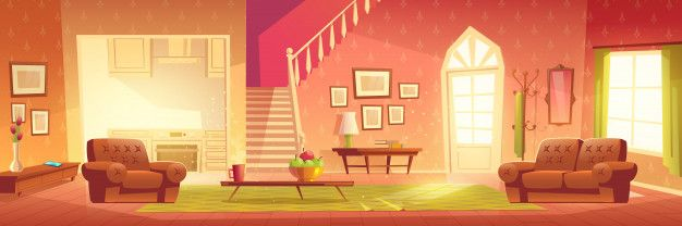 Download Cartoon Home Interior Bright Hall And Living Room For