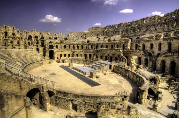 30 of the World's Most Impressive Ancient Ruins : Amphitheatre of El Jem (Mahdia Governorate, Tunisia)   The Amphitheatre of El Jem is one of the remains of the Roman city of Thysdrus, known today as El Djem. The amphitheatre was capable of seating 35,000 people. Several scenes from Life of Brian and Gladiator were filmed here.