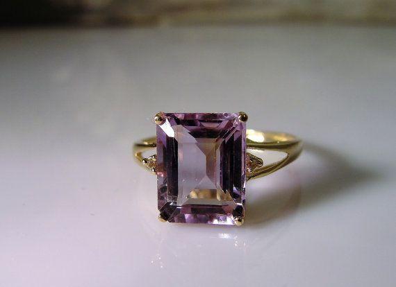 1960s 10K Gold Ring Amethyst Ring Genuine by CarolsVintageJewelry