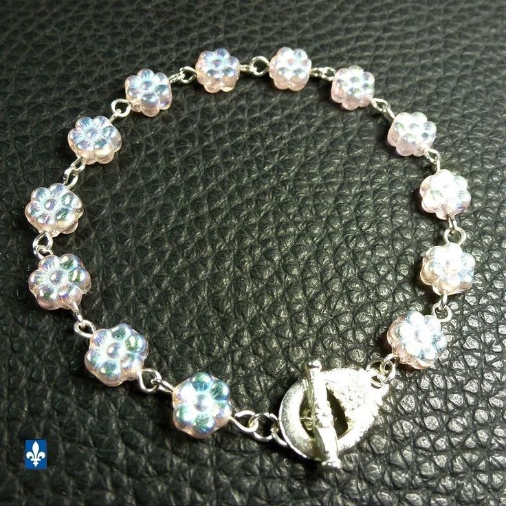 ♥ EASY SHIP TO USA  Iridescent Pink Czech Crystal Flowers Plated Silver Bracelet