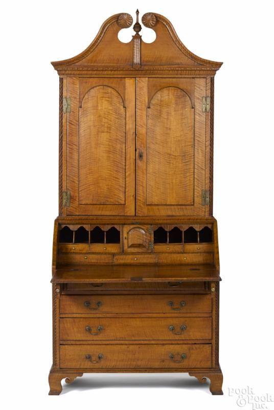 Connecticut River Valley Chippendale tiger maple secretary desk, ca. 1775, 94 1/2'' h., 41'' w. - Price Estimate: $15000 - $25000