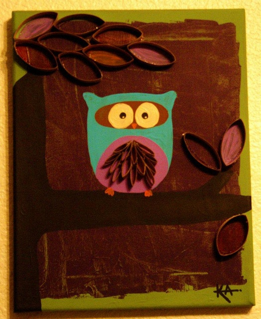owl painting - toilet paper roll art