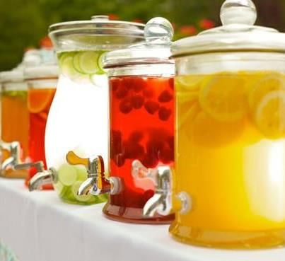 Outdoor Wedding Reception: Staying Hydrated - change colours to suit colour scheme - food colourings