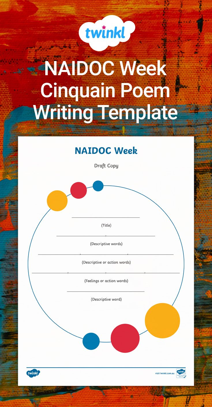 Naidoc Week Cinquain Poem Writing Template In 2020 Cinquain Poems Cinquain Writing Skills