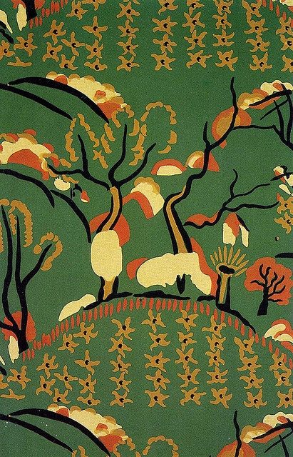 'TREMBARTH / TREMBATH' (1920s)   Alec George Walker: Crysede repeat print on silk crepe. 'The designs are extremely colourful and varied and were available in a wide variety of colour-ways. The designs were applied using wood blocks, a method of printing which in the main had died out. A different block was used for each colour, sometimes as many as seven. The ink was applied and the printing process is known as discharge printing. The ink bleached out the ground colour.' ✫ღ⊰n