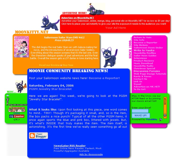 Moonkitty.NET Version 10! Very different look that I designed when I first moved to Japan! Layout was up between 5th of August 2005 to 27th of September 2006.