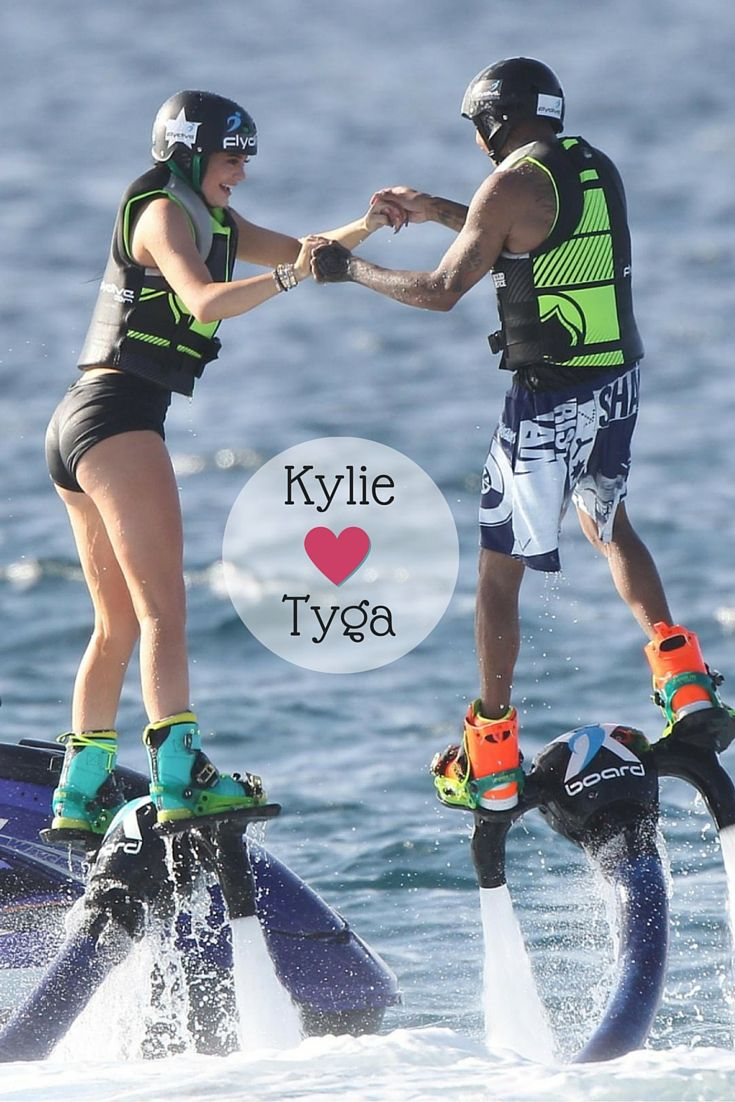 Kylie Jenner and Tyga went flyboarding in St. Barts after zip-lining, horseback riding and jet skiing. Whew! I can't even clean the living room! ♥ If you enjoyed my pin, pls do visit my celebrity site at http://www.celebritysizes.com/ ♥ #celebritysizes #kyliejenner #tyga