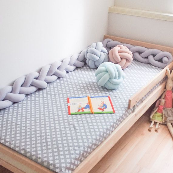 Baby /todler crib bumper Light gray Cotton Length about 100-115 cm (42-45 inches) You can also ask custom made bumper  (If you need special length or color)  Price only for one bumper , accessories not include  due to lighting conditions and monitor settings colours can be slightly different, than they are in reality.
