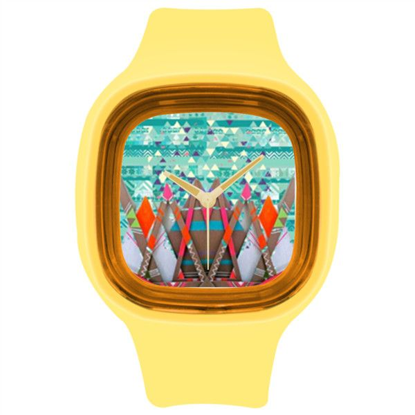 GEO Pop Art Abstract Mountain print bright hipster yellow watch Yellow... ($26) ❤ liked on Polyvore featuring jewelry, watches, silicone jewelry, silicone wrist watch, square wrist watch, bright jewelry and silicon watches