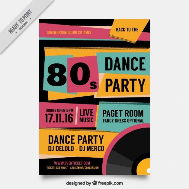 Abstracto folleto de fiesta de los ochenta en estilo retro  Vector Gratis