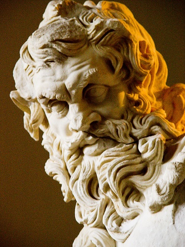 Detail of head of Zeus, Museum of Archeology, Antalya, Turkey