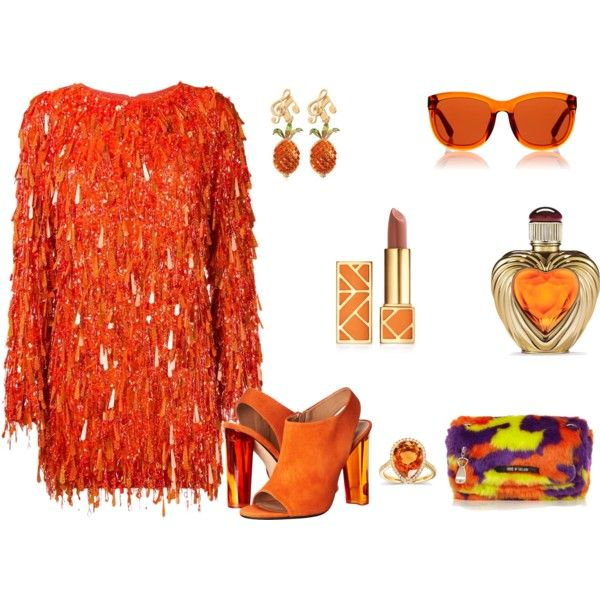 How to...The orange party night out by vicky-angelidou-pappas on Polyvore featuring Ashish, Calvin Klein Collection, House of Holland, Dolce&Gabbana, Kobelli, The Row, Tory Burch and Victoria's Secret