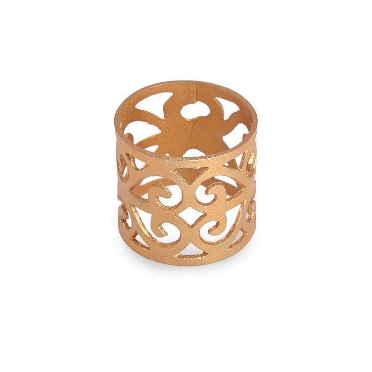 Parvin Napkin Ring. Organic pattern napkin ring in brass finish.