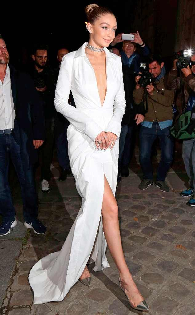 "<p>Heaven must be missing an angel! The model stuns in a <a href=""http://fave.co/2fRBYWL"" target=""_blank"">Brandon Maxwell dress</a> and <a href=""http://fave.co/2fSTV7e"" target=""_blank"">Gianvito Rossi pumps</a> while leaving her Paris hotel.</p>"