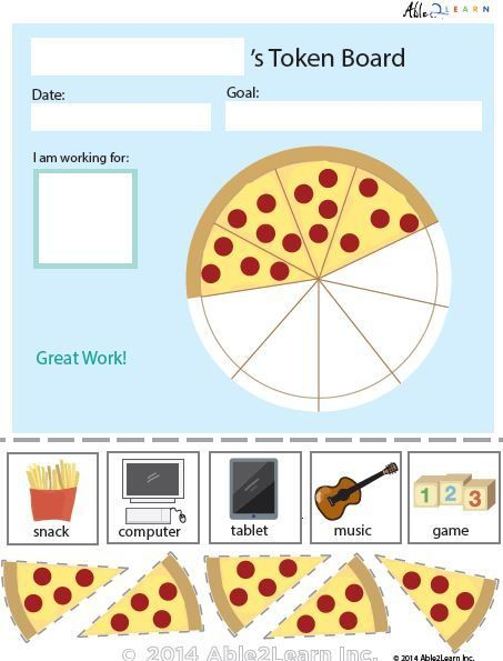 Token Board Food Pizza 5 Tokens Token Economy Vip