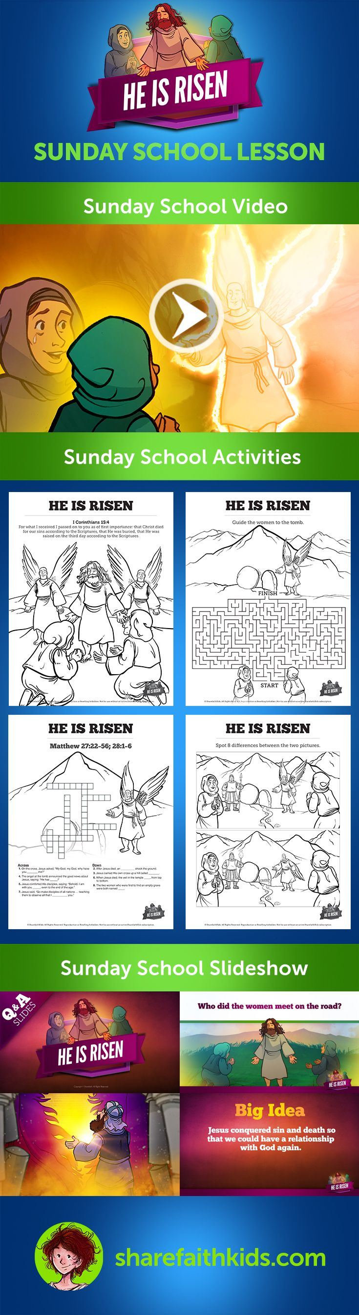 He Is Risen Easter Sunday School Lesson for Kids: This awe-inspiring Matthew 27-28 Sunday School Lesson explores the greatest event in all of history - the bodily resurrection of Jesus Christ. Inside you'll discover a bundle of resources that will empower you to teach this Sunday School lesson with creativity and confidence.