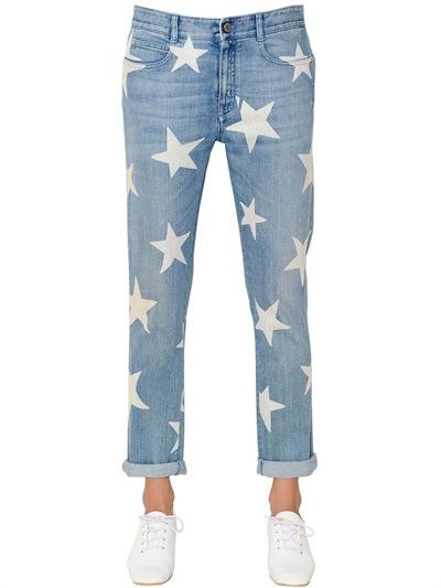 STELLA MCCARTNEY - SKINNY BOYFRIEND STARS PRINT DENIM JEANS - BLUE/WHITE
