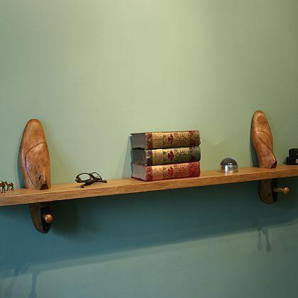 Vintage Cobbler's Wooden Shoe Last Shelf
