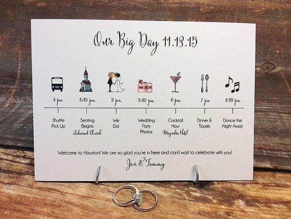 Wedding Timeline Card DEPOSIT por pixelstopaper en Etsy