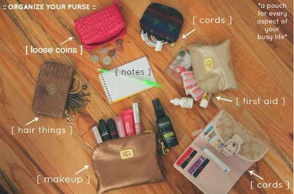 Declutter your bag at the end of each week. Have a pouch for wverything in purse.