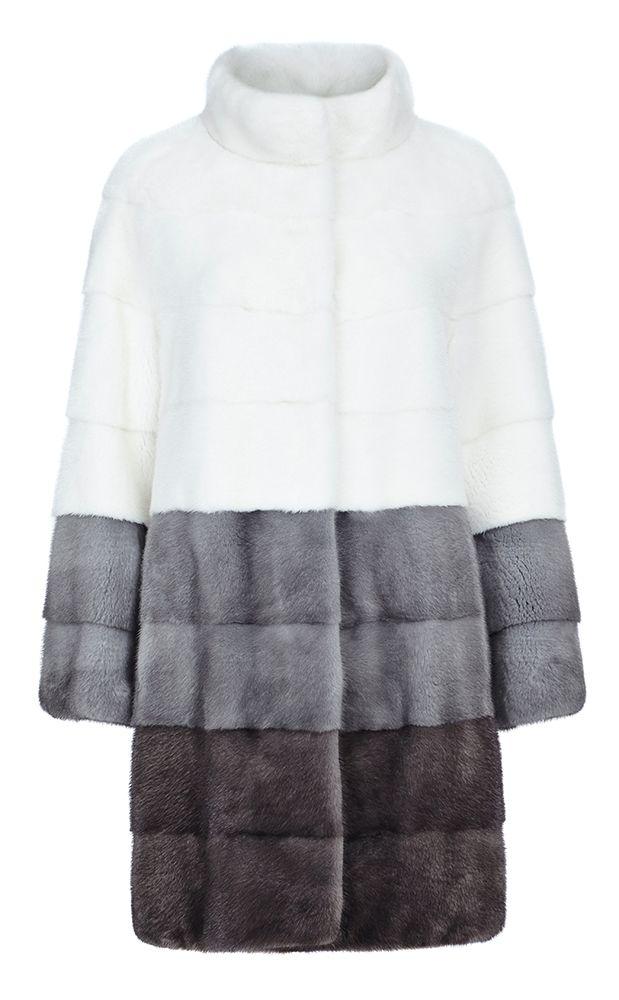 Трехцветная шуба из меха норки Fellicci (Модель:91656000)